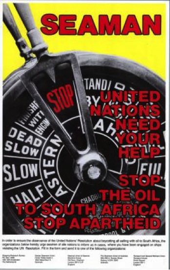 A Maritime Unions Against Apartheid poster (1980s) (source: socialhistory.org/en/collections/shipping-research-bureau)